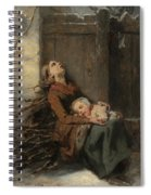 Destitute Dead Mother Holding Her Sleeping Child In Winter, 1850 Spiral Notebook