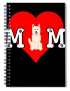 Dog Mom Heart Paw Prints White Swiss Shepherd Dog Spiral Notebook