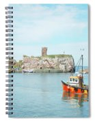 Dunbar Castle Ruins, Harbour And Fishing Boats Spiral Notebook