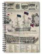 Early 18th Century British Man Of War Ship Diagram Spiral Notebook