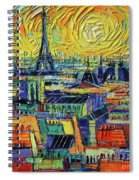 Eiffel Tower And Paris Rooftops In Sunlight Textural Impressionist Stylized Cityscape Mona Edulesco Spiral Notebook