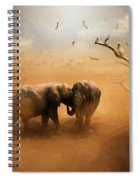 Elephants At Sunset 072 - Painting Spiral Notebook
