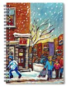 Face Off Street Hockey At The Corner Dep Snow Falling Streets Of Montreal Quebec Artist C Spandau Spiral Notebook
