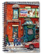 Fairmount Bagel Bakery Laneway Hockey Art Depanneur Winter Scenes C Spandau Montreal Landmark Stores Spiral Notebook