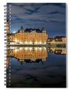 Fantastic Stockholm City Hall And Gamla Stan Reflection With Clouds Spiral Notebook