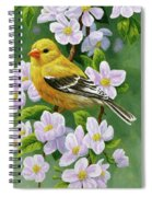 Female American Goldfinch And Apple Blossoms Spiral Notebook