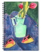 Flowers In A Green Vase On Purple Cloth Spiral Notebook