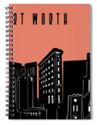 Fort Worth Skyline Panorama Red Spiral Notebook