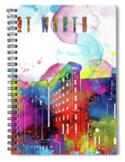 Fort Worth Skyline Panorama Watercolor 2 Spiral Notebook