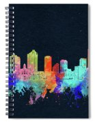 Fort Worth Skyline Watercolor Black Spiral Notebook