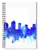 Fort Worth Skyline Watercolor Blue Spiral Notebook
