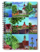 Frankenmuth Downtown Michigan Painting Collage II Spiral Notebook
