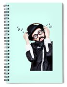 Funny Man Wearing Headphone On Blue Background Spiral Notebook