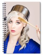 Funny Pin Up Housewife Saluting For Cooking Duties Spiral Notebook