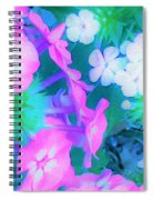 Garden Flowers In Pink, Green And Blue Spiral Notebook