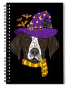 German Shorthair Halloween Witch Hat Flying Bats Spiral Notebook