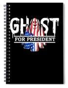 Ghost Elected Cute Halloween Spirit In American Flag Dark Spiral Notebook
