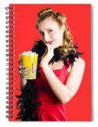 Glamorous Woman Holding Popcorn Spiral Notebook