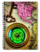 Green Compass And Old Key Spiral Notebook