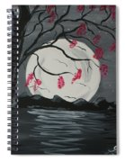 Grey Moon With Red Flowers Spiral Notebook