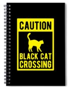 Halloween Shirt Caution Black Cat Crossing Gift Tee Spiral Notebook