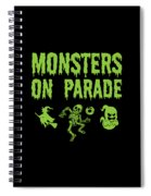 Halloween Shirt Monsters On Parade Green Gift Tee Spiral Notebook