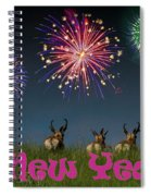 Happy New Year 2019 - Three Pronghorn Antelope Spiral Notebook