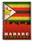 Harare Zimbabwe World City Flag Skyline Spiral Notebook