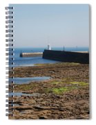 harbour at Seahouses on hazy summer day Spiral Notebook