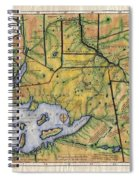 Historical Map Hand Painted Lake Superior Norhern Minnesota Boundary Waters Captain Carver Spiral Notebook