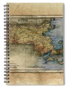 Historical Map Hand Painted Massachussets Spiral Notebook