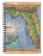 Historical Map Hand Painted Vintage Florida Colton Spiral Notebook