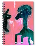 Horse And Rabbit On Pink Spiral Notebook