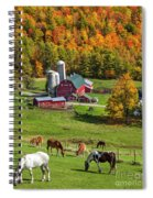 Horses Grazing In Autumn Spiral Notebook