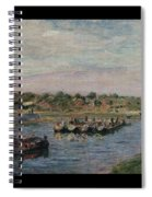 Idle Barges On The Loing Canal At Saint-mammes Spiral Notebook