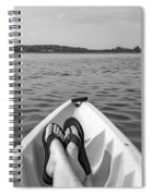 Kayaking In Black And White Spiral Notebook