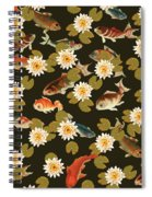 Koi And Lily Pads In Dark Water Spiral Notebook