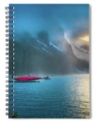 Lake Louise Canoes In The Morning Spiral Notebook