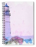 Lighthouse, Cape Elizabeth, United States -  Watercolor By Ahmet Asar Spiral Notebook