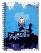 Lighthouse, Watercolor, C2019, By Adam Asar - 19 Spiral Notebook