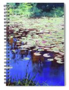 Lilies On Blue Water Spiral Notebook