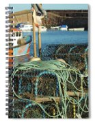 lobster pots and trawlers at Dunbar harbour Spiral Notebook