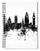 London Black And White Watercolor Skyline Silhouette Spiral Notebook