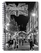 London Nightlife Carnaby Street London Uk United Kingdom Black And White Spiral Notebook