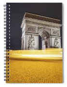 Long Exposure Picture Of Paris Arch De Triomphe At Night   Spiral Notebook