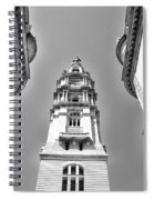 Looking Up - City Hall Court Yard In Black And White Spiral Notebook