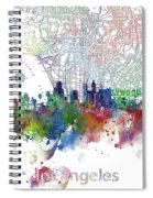 Los Angeles Skyline Map Watercolor 3 Spiral Notebook