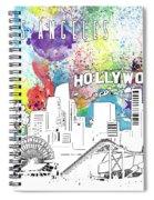 Los Angeles Skyline Panorama Watercolor Spiral Notebook
