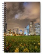 Low Angle Picture Of Downtown Chicago Skyline During Winter Nigh Spiral Notebook