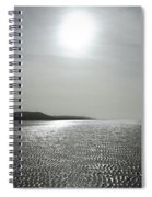 Low Tide Sandy Beach Ripples Silhouetted Against Sun Spiral Notebook